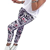 fuxinhe Mujer Harlan Pantalones Fashion Camo Pantalones Casuales De Camuflaje Al Aire Libre,Rosa,Gris