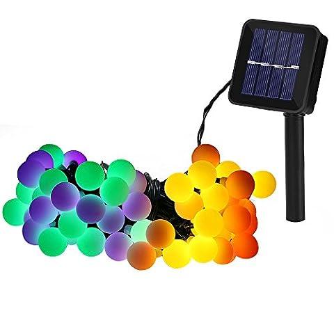 Guirlande Lumineuse Solaire 60 Boule LED, 10m Fil Souple Imperméable 8 Modes Eclairage Décoration pour Maison, Jardin, Festival etc. (Multicolore)