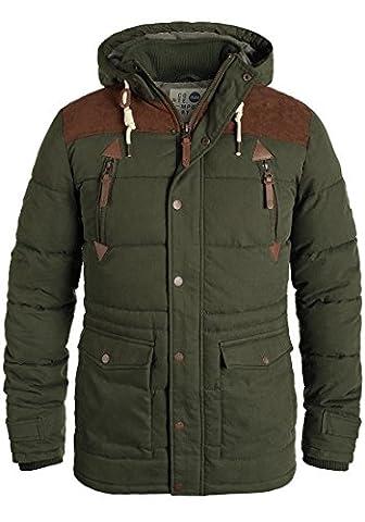 SOLID Dry Long Herren Winterjacke Jacke mit Stehkragen und abnehmbarer Kapuze aus hochwertiger Baumwoll-Mischung, Größe:XL, (Chic Giacca Trapuntata)