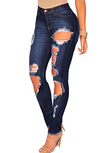 Neue Damen Dark Denim Destroyed zerreißen Saum Skinny Jeans Casual Wear Club Wear Größe S UK 10–12 EU 38–40 (Saum Denim)