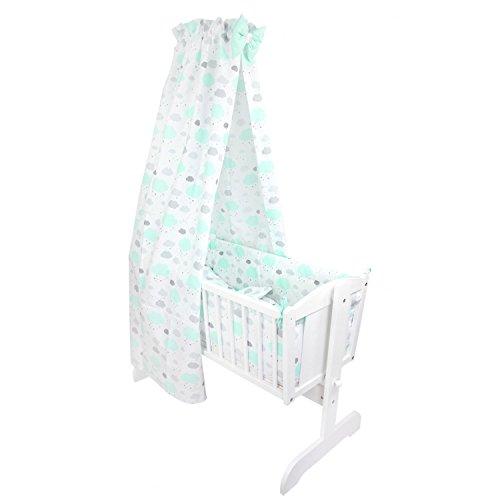 TupTam Unisex Baby Wiegen-Bettwäsche-Set 6-TLG, Farbe: Wolken Mint/Weiß, Anzahl der Teile:: 6 TLG. Set