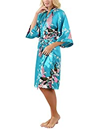 La Dearchuu Summer Dressing Gowns for Women UK Size 4-22 Satin Kimono Robes  for 804ee8e23