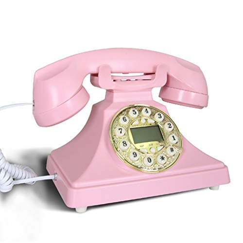 Telepho Retro Vintage Style Rotating Retro Vintage Wählscheibe Festnetztelefon, 22 *   18 * 20cm, Multi-Color-Multi-Style Erhältlich (Farbe : Pink, Stil : Rotary Dialing) -