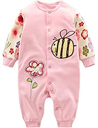 45ac64284 Minizone Recién Nacido Pijama Bebés Algodón Mameluco Niñas Niños Peleles  Sleepsuit Caricatura Trajes