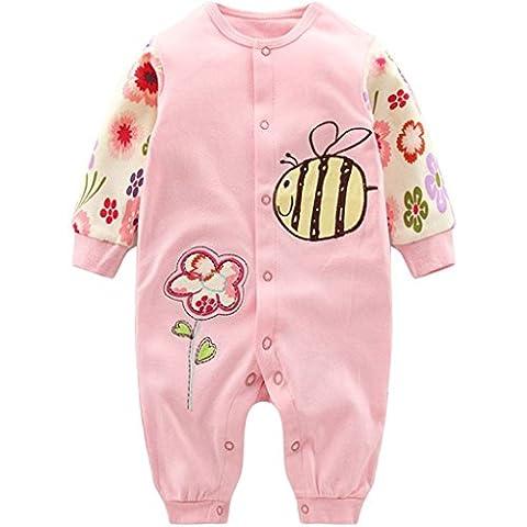 Pyjama Nouveau née Combinaisons en Coton Bébé Filles Grenouillères Cartoon Outfits, 0-3 Mois