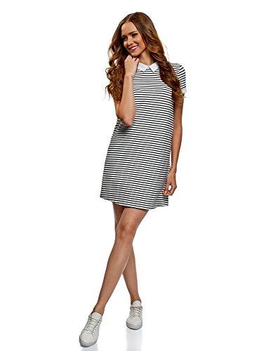 oodji Ultra Damen A-Linien-Kleid mit Umlegekragen, Grau, DE 36 / EU 38 / S