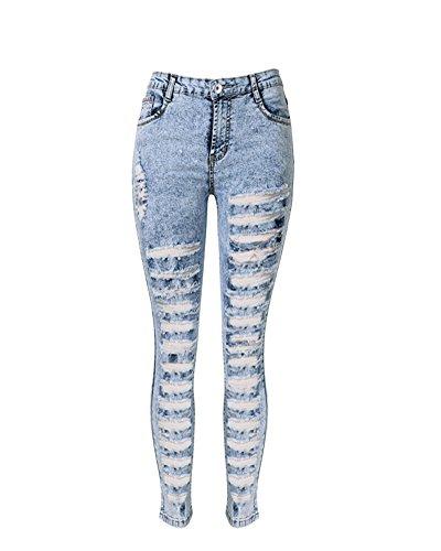 SaiDeng Jeans Donna Strappati Aperti Davanti Tubo Sigaretta Aderenti Stretti Hot Azzurro Chiaro 42