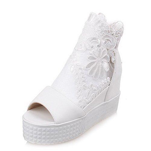 AgooLar Femme Ouverture Petite à Talon Haut Matière Mélangee Couleur Unie Chaussures Légeres Blanc