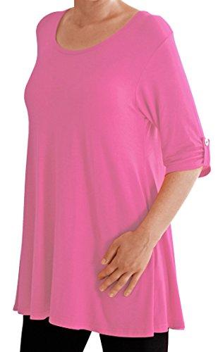 Eyecatch TM Oversize - Haut Tunique manches longues 3/4 large col rond grandes tailles- Jessica - Femme Rose Clair