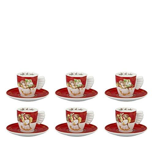 THUN Confezione 6 tazzine espresso Dolce Natale porcellana 0,1 l