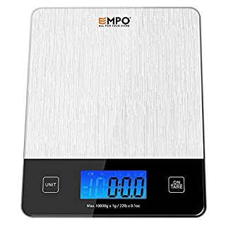 Professional Digital Kitchen Scale EMPO® Food Scale with Tempered Glass, High Accuracy Electronic Cooking Scale with Large LCD Display and Tare Feature, Batteries Included