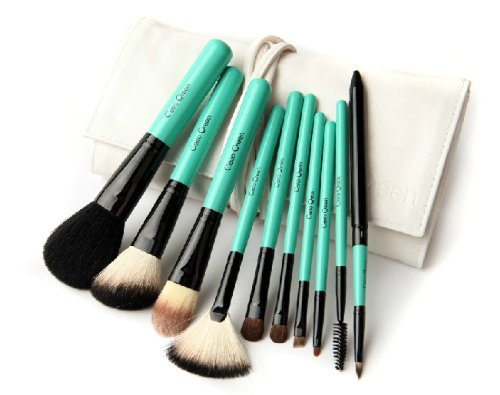 kit de 10 pinceaux à maquillage / ensembles des brosses cosmétiques / kit de beauté des pinceau de maquillage / pinceau poudre / cosmetic brushes (vert)
