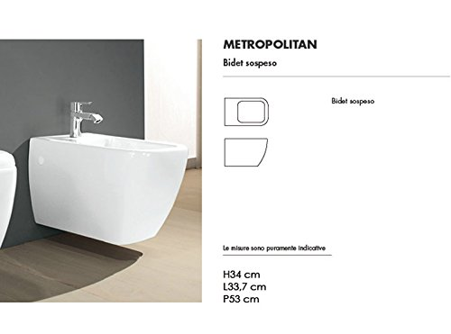 Rak Wall toilets and bidet Metropolitan white wall bidet MEBI00002