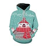 YSFWL Damen Kapuzenpullover Weihnachten Pullover 3D Schneemann Schal Digital Print Hoodie Parka...