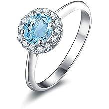Beydodo Anillo de Plata de Ley 925 Mujer Anillo Diamante Anillo Talla 6,75-