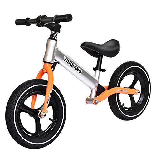 GJNWRQCY Extrem Komfortables Laufrad, 12-Zoll-Luftreifen, kein Pedal, Kinderfahrrad für 3-6 jährige Jungen und Mädchen, verstellbares Fahrrad,Orange