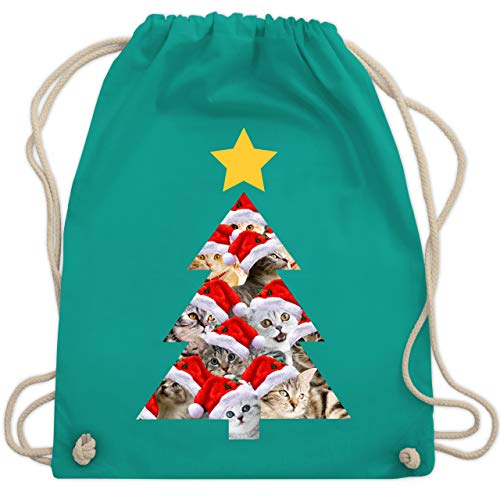 Weihnachten & Silvester - Katzenbaum - Unisize - Türkis - WM110 - Turnbeutel & Gym Bag