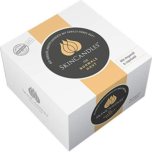 SkinCandles, 150ml warme Hautpflege-Kerzen mit BIO-Kokosöl, DIE Beauty-Neuheit für normale Haut mit Arganöl und Jojobaöl, Vanille-Duft, Körper-Pflege, Naturkosmetik, beliebtes Geschenk