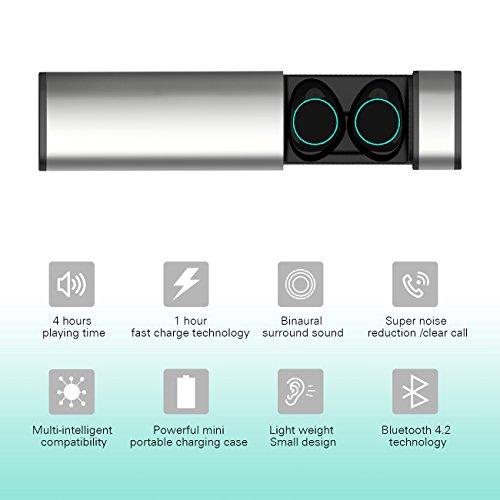 HolyHigh Bluetooth Kopfhörer in Ear Bluetooth Headset Stereo-Minikopfhörer mit Ladekästchen und integriertem Mikrofon für Android und iPhone … - 4