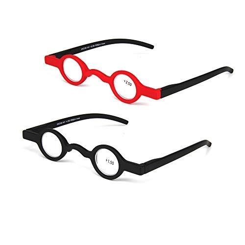 2 Pack Runde Lesebrille Retro Brille Presbyopie Brillengestell Leser Tragbare Brillen Runde Retro Rahmen Leichte Mini Anti Müdigkeit Vintage Kleine,1.5