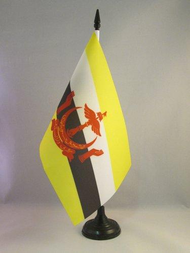 AZ FLAG TISCHFLAGGE Brunei 21x14cm - Brunei DARUSSALAM TISCHFAHNE 14 x 21 cm - flaggen