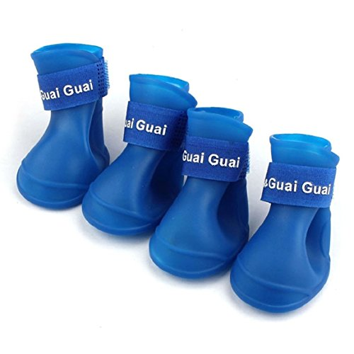 Blue , M : Ukamshop(TM)Dog Candy Colors Boots Waterproof Rubber Pet Rain Shoes Booties (Blue, M)