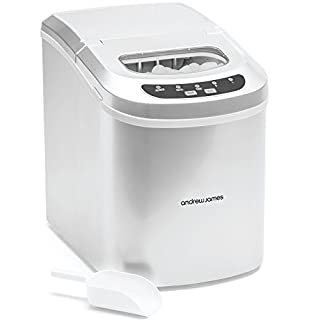 Andrew James Ice Maker Machine | Compact Portable Countertop Ice Cube Maker with 2.4L Tank | Produces Ice Cubes in Under 10 Mins with No Plumbing Required | Includes Scoop & Removable Basket | Silver