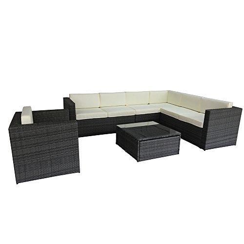 DRULINE Malibu XXL Poly Rattan Lounge Sofa Gartenmöbel Sitzgruppe Creme wasserabweisend Grau