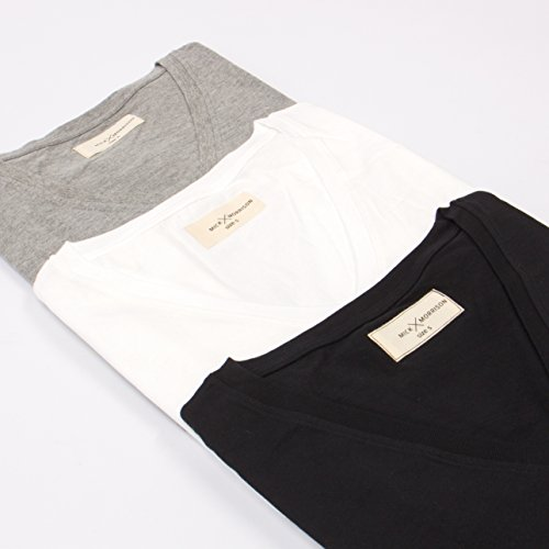 Mick Morrison Herren T-Shirt mit V-Ausschnitt 6er Pack Mehrfarbig (2x Schwarz/2x Weiß/2x Grau Meliert 103)