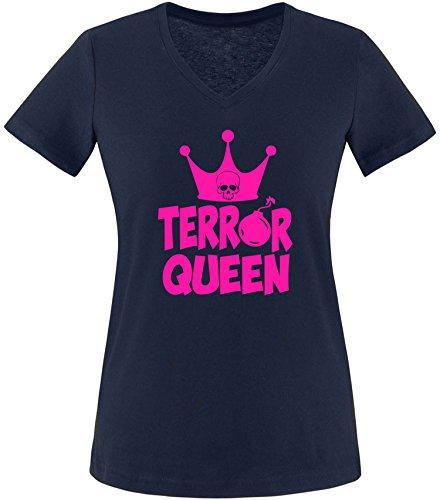EZYshirt® Terror Queen Damen V-Neck T-Shirt Navy/Pink