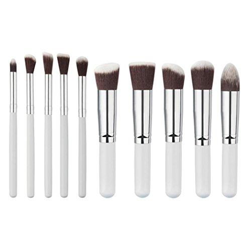 Saingace 10pcs Mini Cosmétique de Maquillage Brosse Fondation Poudre Fard à Paupières Brosses Ensembles/Blanc