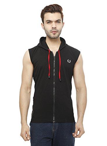 Leemarts Solid Mens Hooded Sleeveless T Shirt