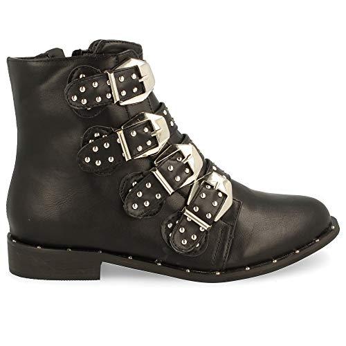 Buonarotti Damen Schuhe Stiefeletten mit Strass und Schallen Biker Boots (40 EU, schwarz)
