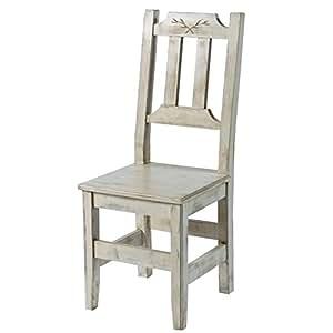 "Chaise pin massif cérusé blanc ""Solea"" Casita Meuble House"