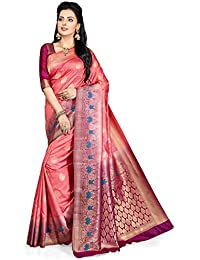 MSRETAIL Women's Silk Kanjivaram Saree (W-4054-A, Peach and Magenta)