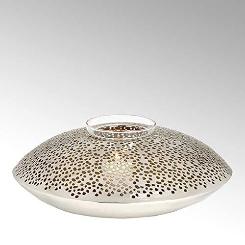 Teelicht Spiegel (Lambert Jadida Windlicht Eisen perforiert vernickelt/Gold rund groß H 10 cm, D 31 cm mit Glaseinsatz, für Teelichter 40915)