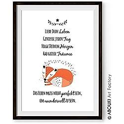 """ABOUKI hochwertiger Kunstdruck - ungerahmt - """"Liebe Dein Leben"""" mit Motiv Fuchs Poster Fine-Art-Print, Geschenk, Geschenkidee, Druck, Illustration, Bild mit Spruch, Statement, Typografie, Typo, Wandbild, Plakat, Zitate & Sprüche, Motivation, Kind, Kinderzimmer, Baby"""