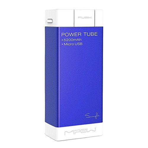MiPow SPM04-NB Power Tube 5200 mobiler Zusatzakku und Ladegerät für Smartphone/MP3-Player/Tablet/GoPro (5200mAh, microUSB) dunkelblau