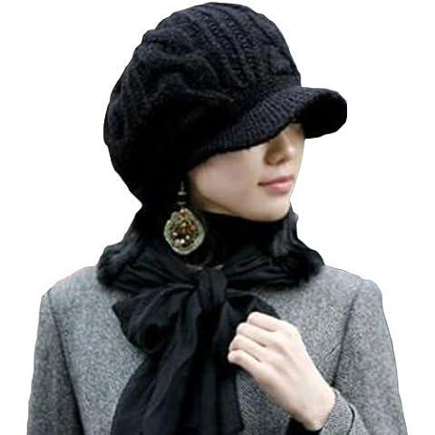 LOCOMO Men Women Boy Girl Slouchy Cabled Pattern Knit Beanie Crochet Rib Hat Brim Newsboy (Rib Cap)