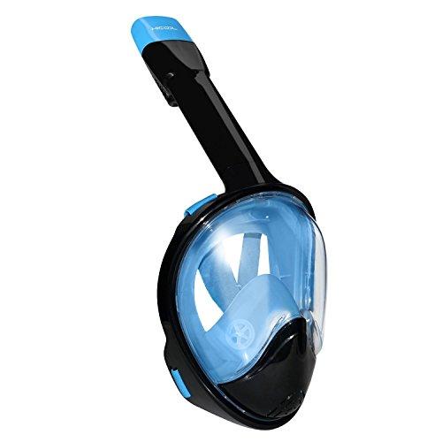 Tauchmaske, HiCool Atmung Schnorchelmaske Tauchermaske Schnorchel Tauchmaske Vollmaske mit 180 Grad Betrachtungsfläche mit Anti Fog / Anti Leak Technologie mit Belüftungsschlauch Vollmaske für Schwimmen und Tauchen
