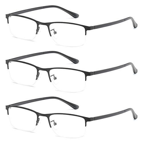 MUCHAO Unisex Mode Bequem Lesebrille 3 Packungen Metall Halber Rahmen Harz Objektiv Klassisch Lesen Gläser +1.0 bis +4.0