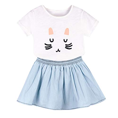 Julhold Kleinkind Kind Baby Mädchen Outfits Kleidung Cute Cat Printed T-Shirt + Jeansrock Set atmungsaktives Gewebe (Fancy Dress Cat Outfit)
