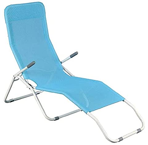 Long Beach Reclining Chair Lounger Made From Steel and Textiline, 63 x 200 cm, For Use At The Seaside, Beach, Swimming Pool
