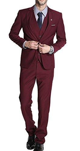 YSMO Männer Zwei Knopf 3 Stück Anzug Jacke mit Hosen mit Weste Kleid Kleidung -