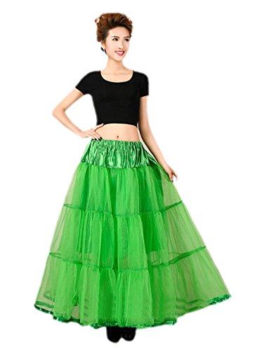 Honeystore 1950's Knöchellänge Vintage Rockabilly Petticoat Retro Ballett Tutu Reifrock Unterrock Underskirt Braut Party Hochzeit HALLOWEEN FASCHING KARNEVAL Grün One (Schuhplattler Kostüm)