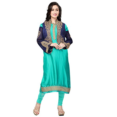 Ethnic Empire Women's Satin Georgette Semi Stitched Anarkali Salwar Suits (Eeas_5461_Green,Blue_Free Size)...
