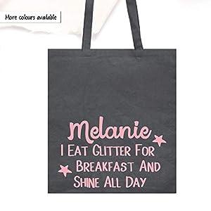 Canvas Shopper Tote Bag, Personalsierte Baumwoll Tasche, I Eat Glitter For Breakfast And Shine All Day Schultertasche