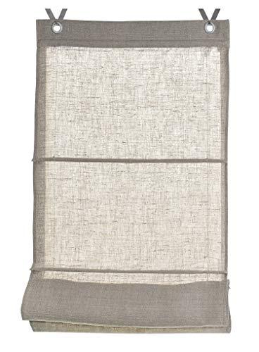 Estor plegable 100% lino Metis natural con ojales y ganchos, 100 * 140 cm