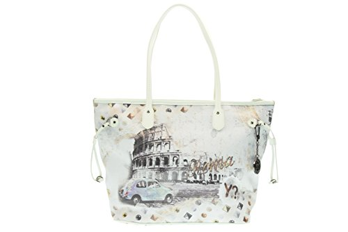 Borsa donna Shopping grande Y Not stampa Roma - Serie White - F319