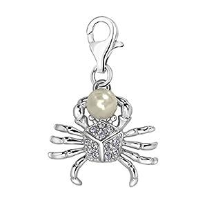 Quiges Charm Anhänger Weiß Zirkonia und Kunstlichen Perle 3D Krabbe 925 Silber mit Karabinerverschluss für Bettelarmband